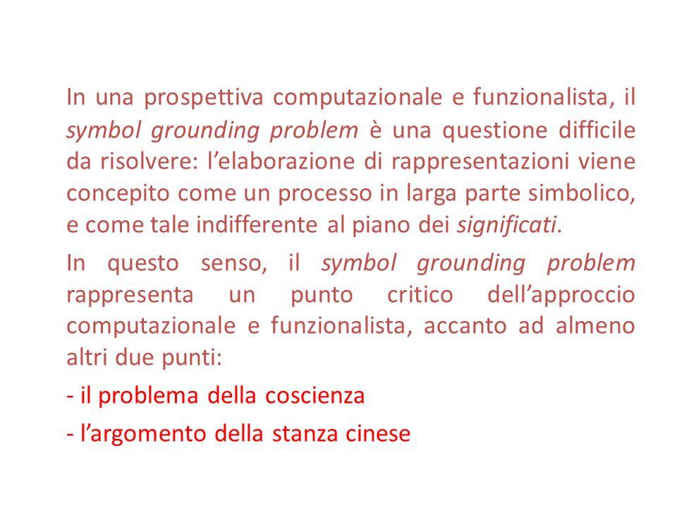 In una prospettiva computazionale e funzionalista, il symbol grounding problem è una questione difficile da risolvere: l'elaborazione di rappresentazioni viene concepito come un processo in larga parte simbolico, e come tale indifferente al piano dei significati.