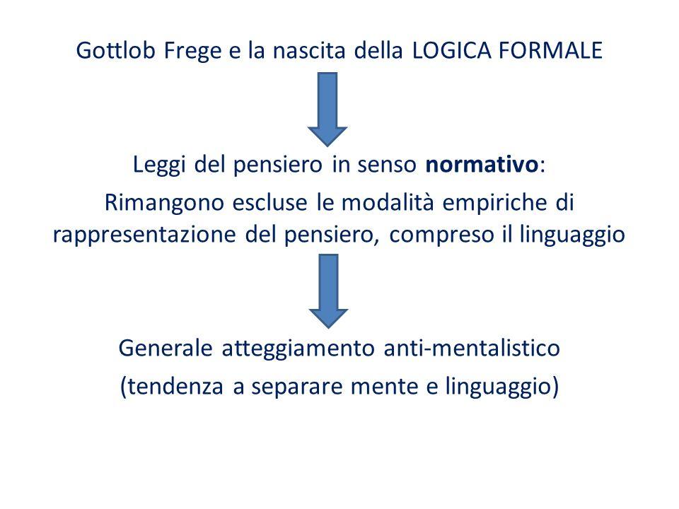 Gottlob Frege e la nascita della LOGICA FORMALE Leggi del pensiero in senso normativo: Rimangono escluse le modalità empiriche di rappresentazione del pensiero, compreso il linguaggio Generale atteggiamento anti-mentalistico (tendenza a separare mente e linguaggio)