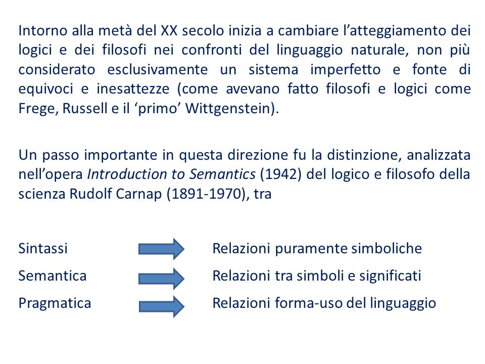 Intorno alla metà del XX secolo inizia a cambiare l'atteggiamento dei logici e dei filosofi nei confronti del linguaggio naturale, non più considerato esclusivamente un sistema imperfetto e fonte di equivoci e inesattezze (come avevano fatto filosofi e logici come Frege, Russell e il 'primo' Wittgenstein).