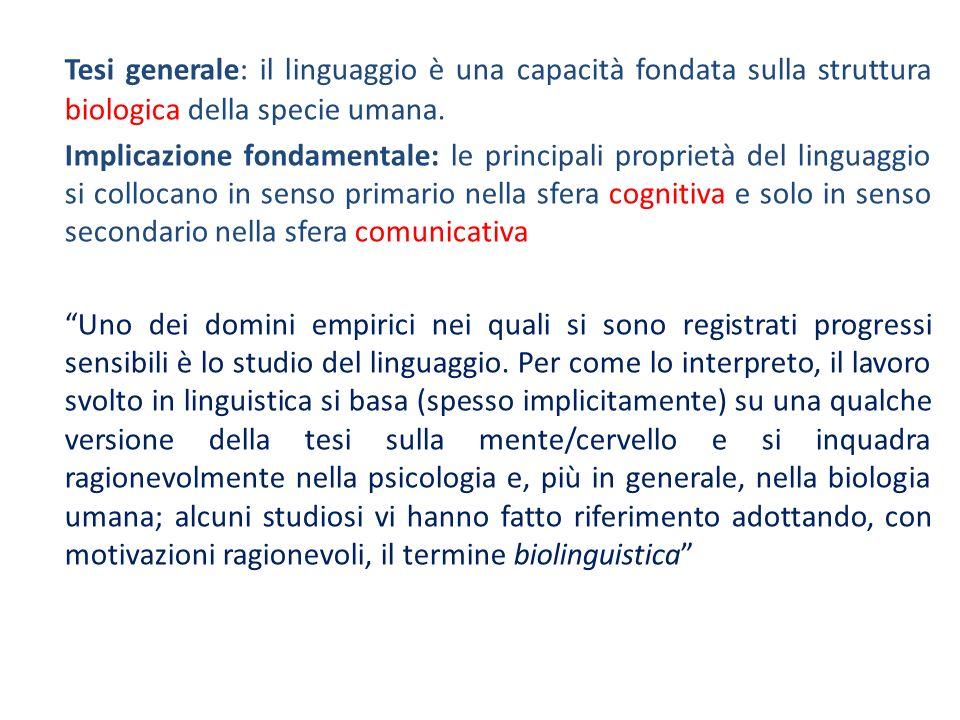 Tesi generale: il linguaggio è una capacità fondata sulla struttura biologica della specie umana.