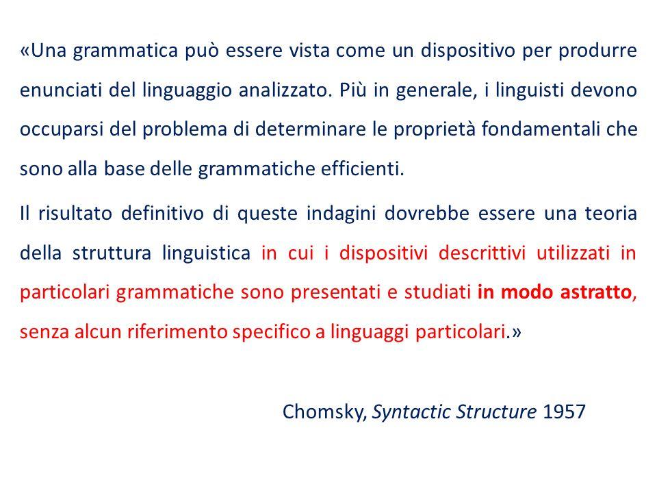 «Una grammatica può essere vista come un dispositivo per produrre enunciati del linguaggio analizzato.