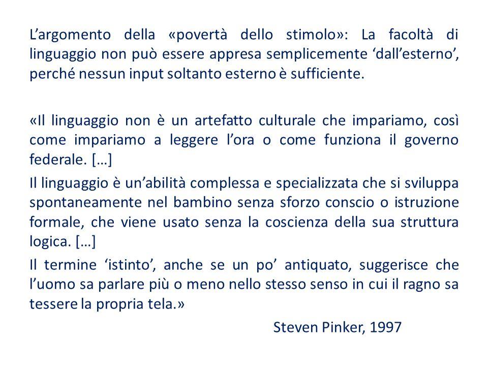 L'argomento della «povertà dello stimolo»: La facoltà di linguaggio non può essere appresa semplicemente 'dall'esterno', perché nessun input soltanto esterno è sufficiente.