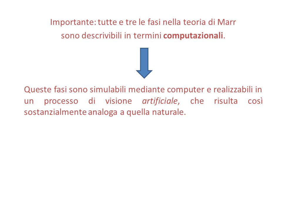 Importante: tutte e tre le fasi nella teoria di Marr sono descrivibili in termini computazionali.