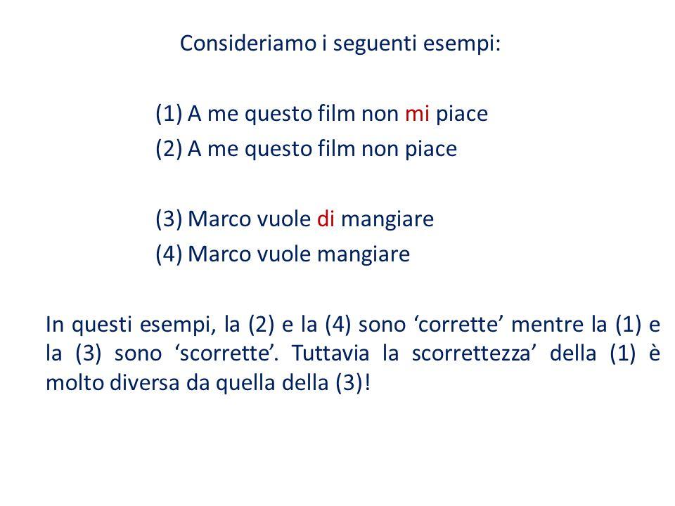 Consideriamo i seguenti esempi: (1) A me questo film non mi piace (2) A me questo film non piace (3) Marco vuole di mangiare (4) Marco vuole mangiare In questi esempi, la (2) e la (4) sono 'corrette' mentre la (1) e la (3) sono 'scorrette'.