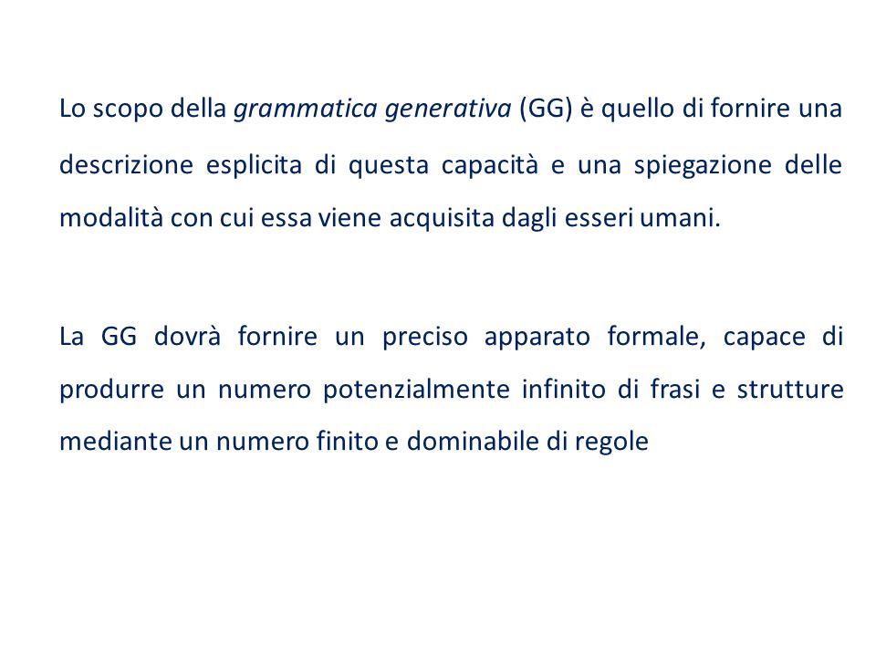 Lo scopo della grammatica generativa (GG) è quello di fornire una descrizione esplicita di questa capacità e una spiegazione delle modalità con cui essa viene acquisita dagli esseri umani.
