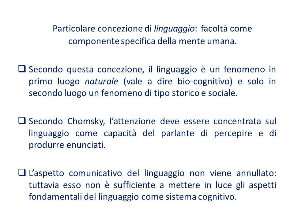 Particolare concezione di linguaggio: facoltà come componente specifica della mente umana.