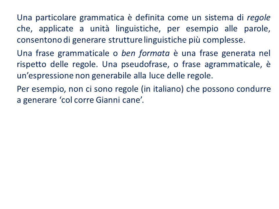 Una particolare grammatica è definita come un sistema di regole che, applicate a unità linguistiche, per esempio alle parole, consentono di generare strutture linguistiche più complesse.
