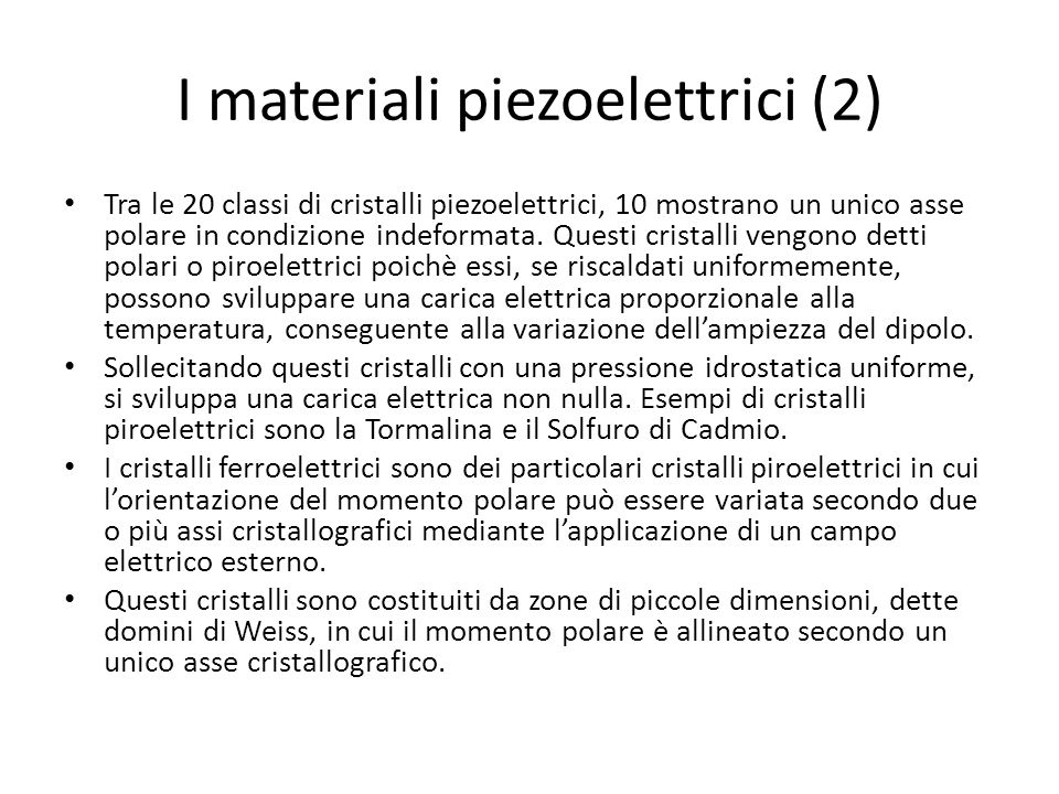 I materiali piezoelettrici (2)