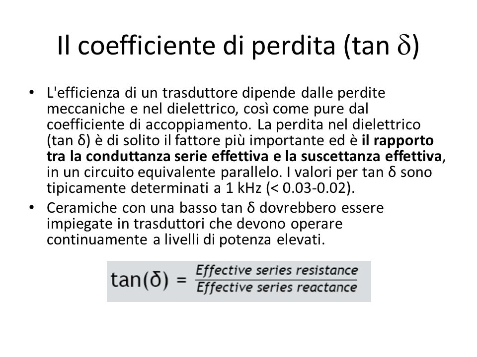 Il coefficiente di perdita (tan d)