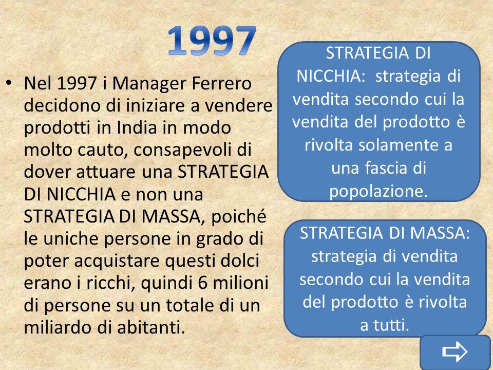 1997 STRATEGIA DI NICCHIA: strategia di vendita secondo cui la vendita del prodotto è rivolta solamente a una fascia di popolazione.