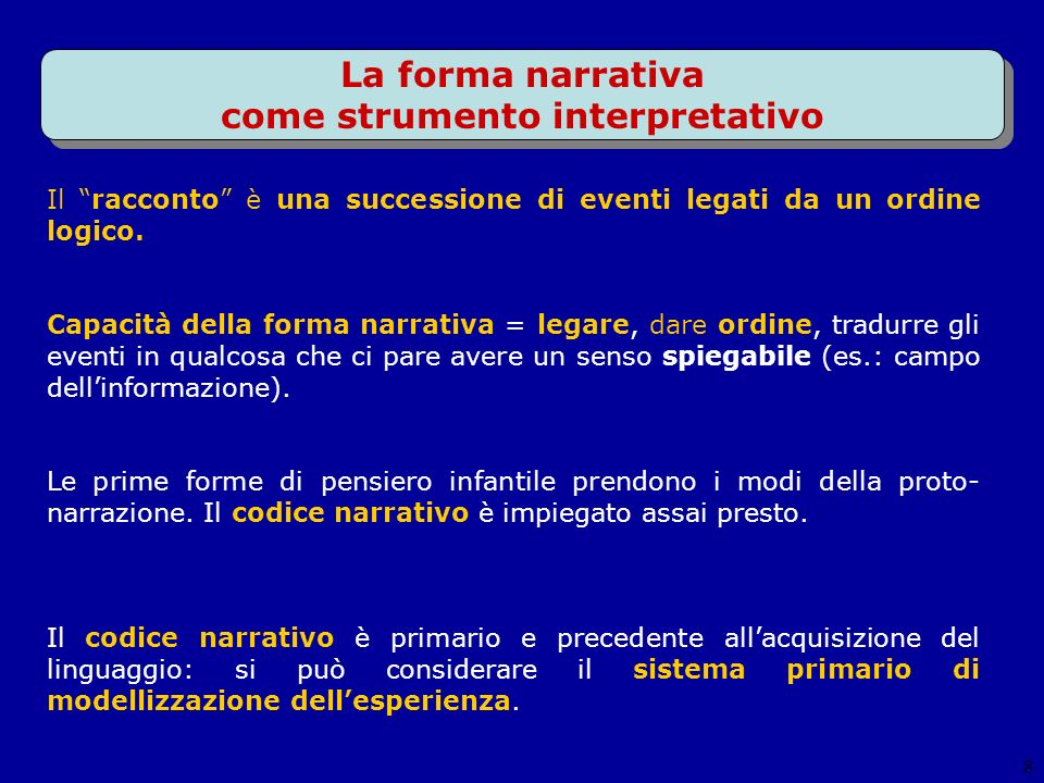 La forma narrativa come strumento interpretativo