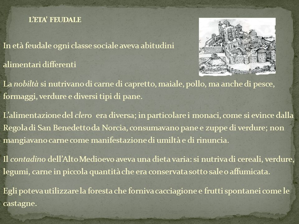 In età feudale ogni classe sociale aveva abitudini