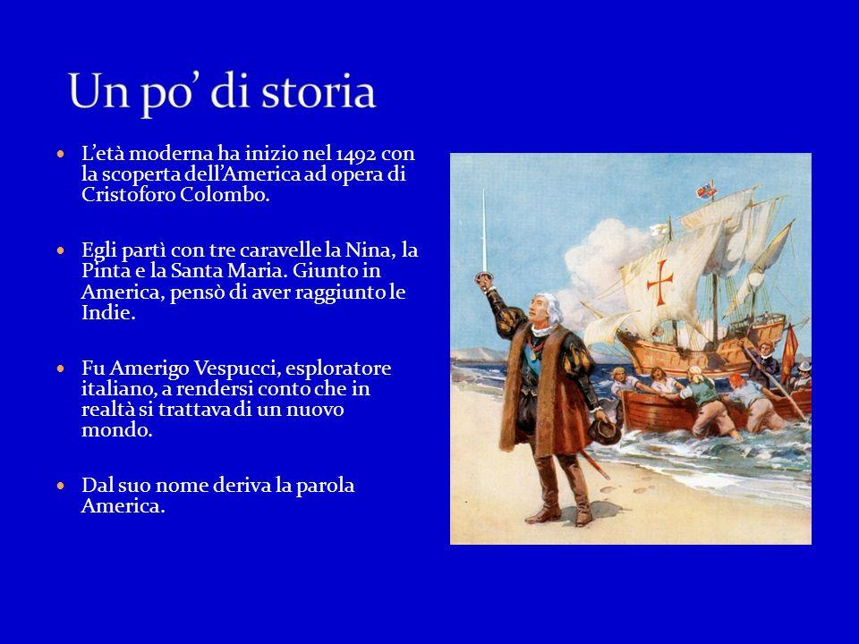 Un po' di storia L'età moderna ha inizio nel 1492 con la scoperta dell'America ad opera di Cristoforo Colombo.