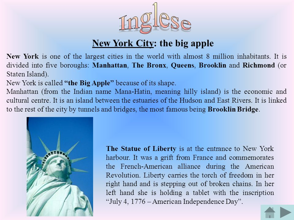 Inglese New York City: the big apple