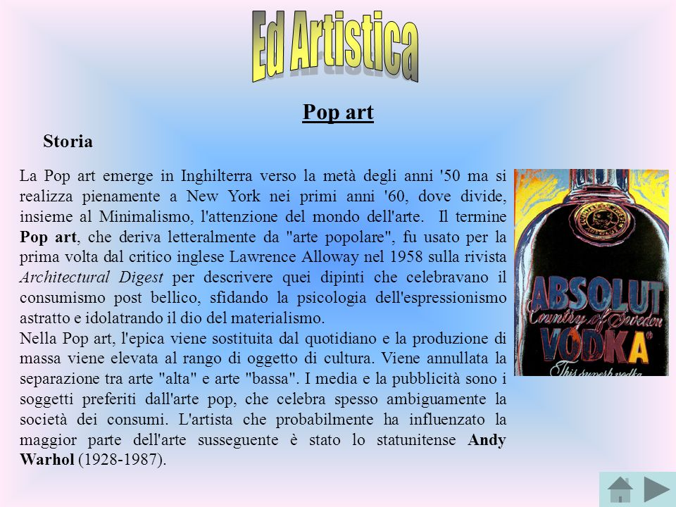 Ed Artistica Pop art Storia
