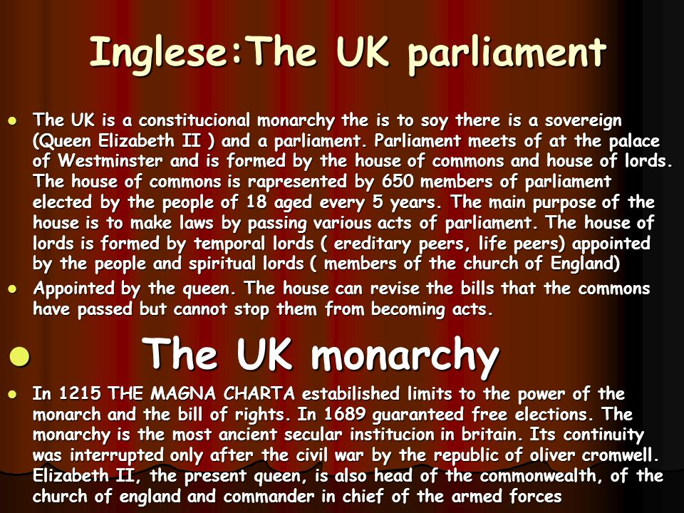 Inglese:The UK parliament