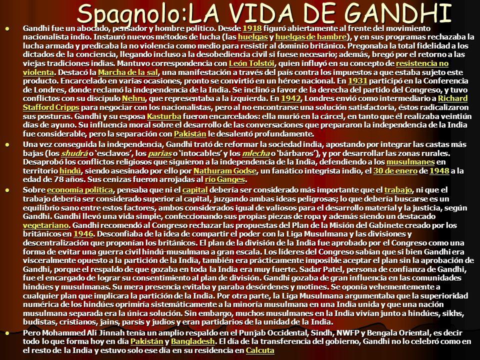 Spagnolo:LA VIDA DE GANDHI