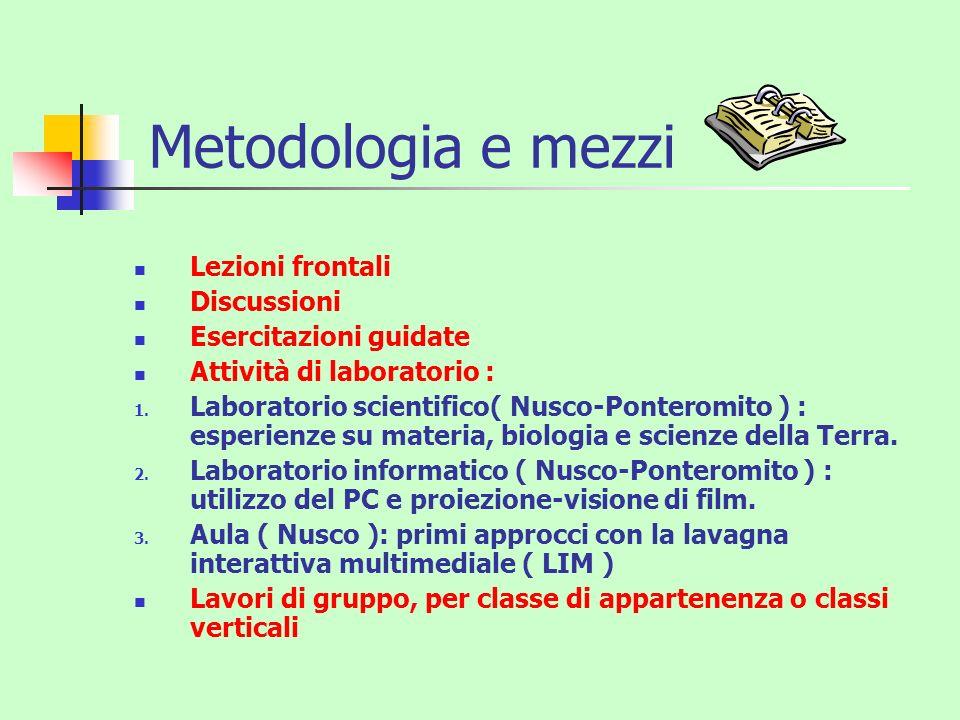 Metodologia e mezzi Lezioni frontali Discussioni Esercitazioni guidate