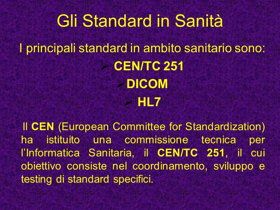 I principali standard in ambito sanitario sono: