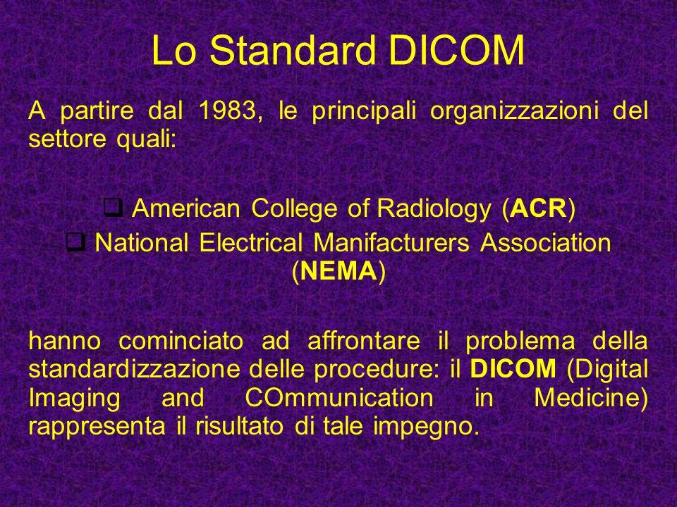 Lo Standard DICOM A partire dal 1983, le principali organizzazioni del settore quali: American College of Radiology (ACR)