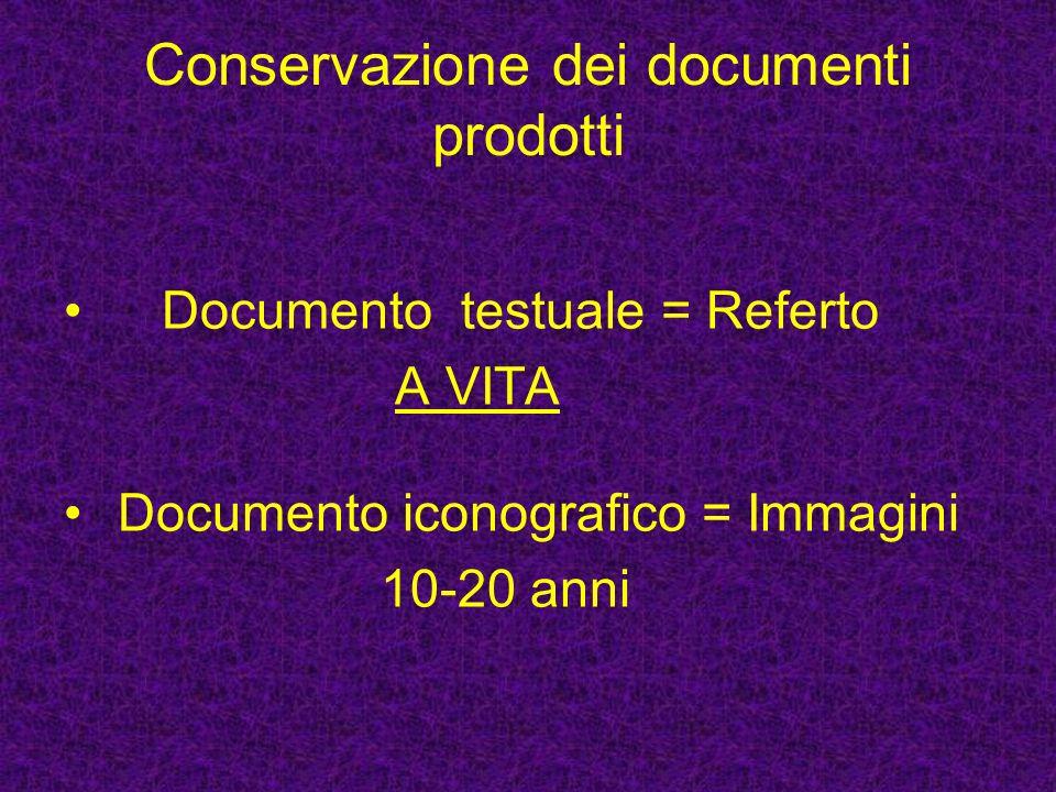 Conservazione dei documenti prodotti