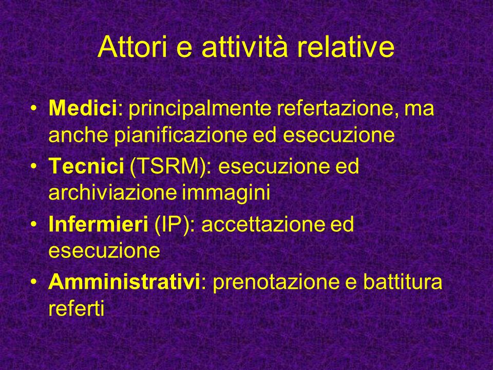 Attori e attività relative