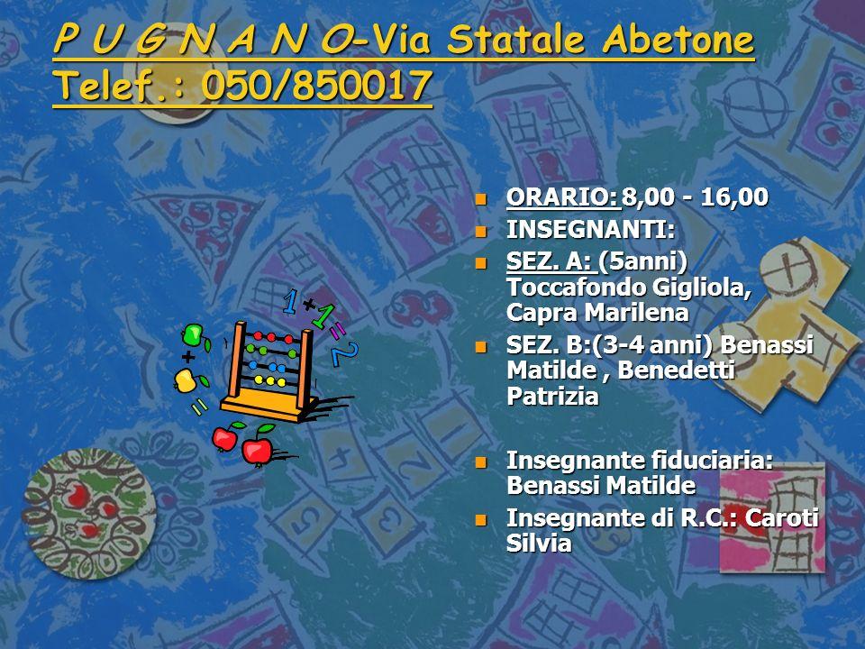 P U G N A N O-Via Statale Abetone Telef.: 050/850017