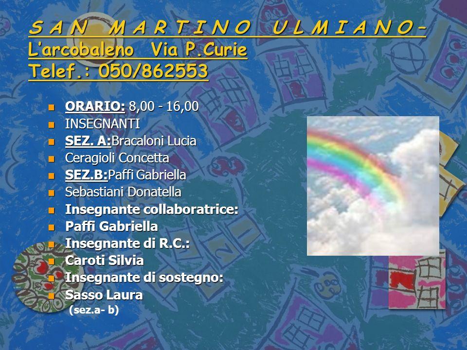 S A N M A R T I N O U L M I A N O – L'arcobaleno Via P. Curie Telef