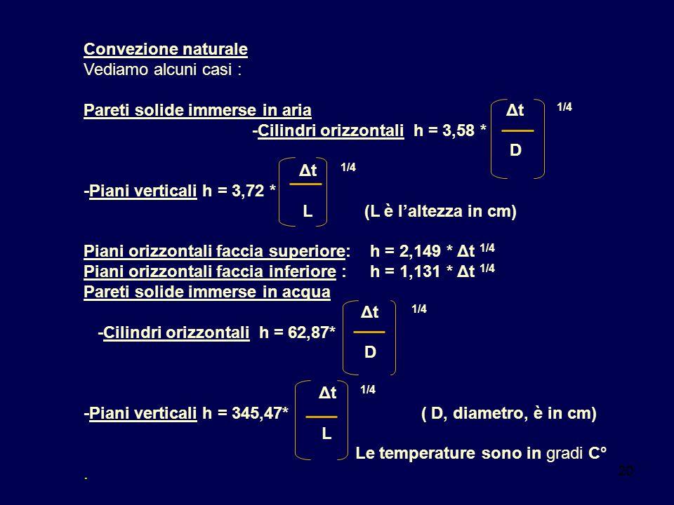 Pareti solide immerse in aria Δt 1/4 -Cilindri orizzontali h = 3,58 *