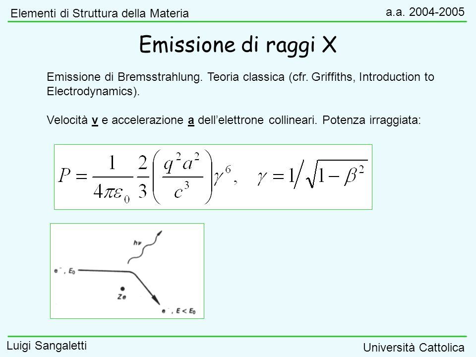 Emissione di raggi X Elementi di Struttura della Materia