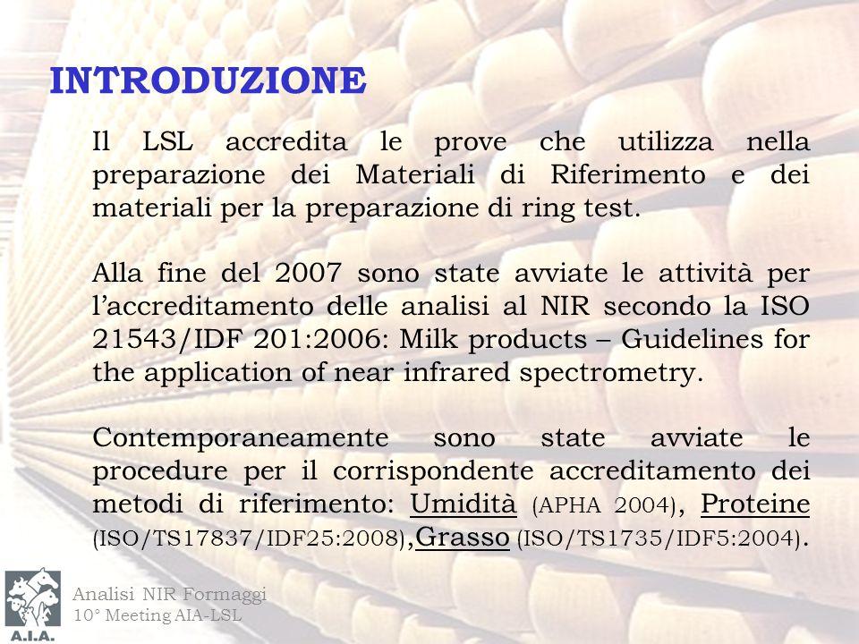 INTRODUZIONE Il LSL accredita le prove che utilizza nella preparazione dei Materiali di Riferimento e dei materiali per la preparazione di ring test.