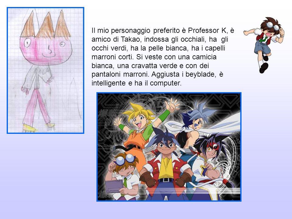 Il mio personaggio preferito è Professor K, è amico di Takao, indossa gli occhiali, ha gli occhi verdi, ha la pelle bianca, ha i capelli marroni corti.