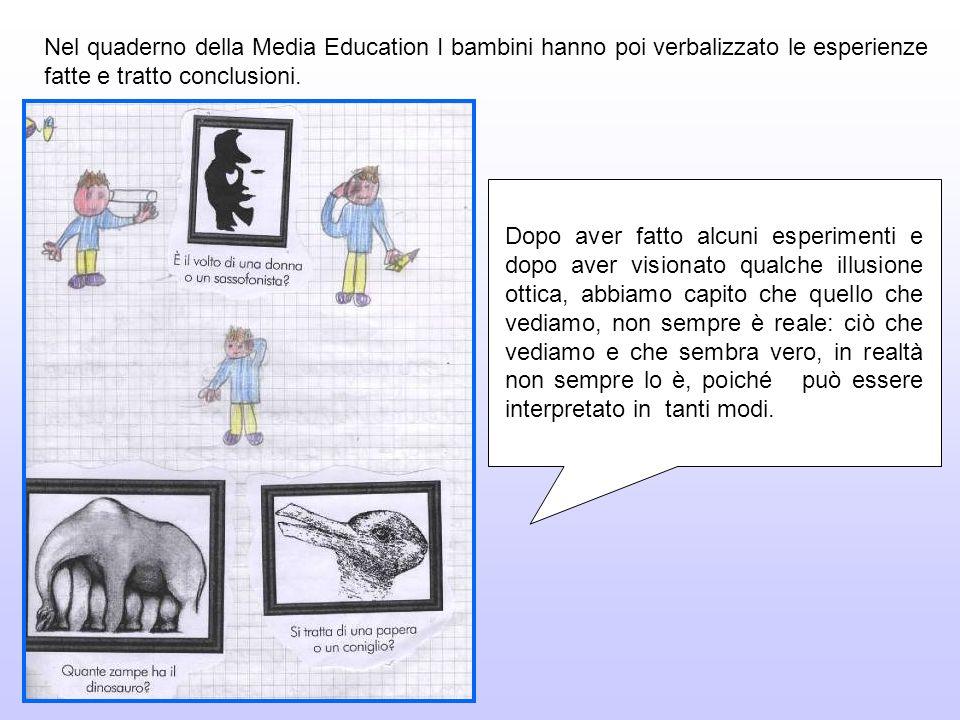 Nel quaderno della Media Education I bambini hanno poi verbalizzato le esperienze fatte e tratto conclusioni.