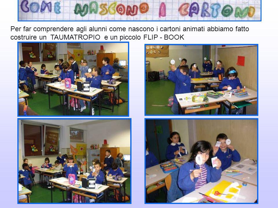 Per far comprendere agli alunni come nascono i cartoni animati abbiamo fatto costruire un TAUMATROPIO e un piccolo FLIP - BOOK