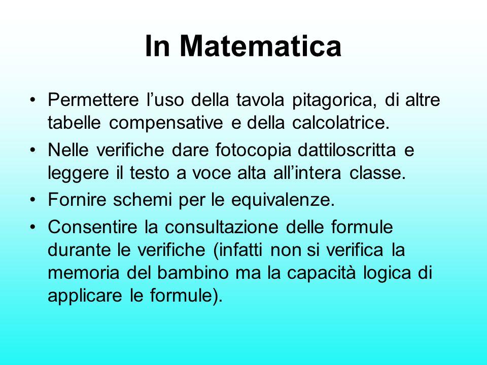 In Matematica Permettere l'uso della tavola pitagorica, di altre tabelle compensative e della calcolatrice.