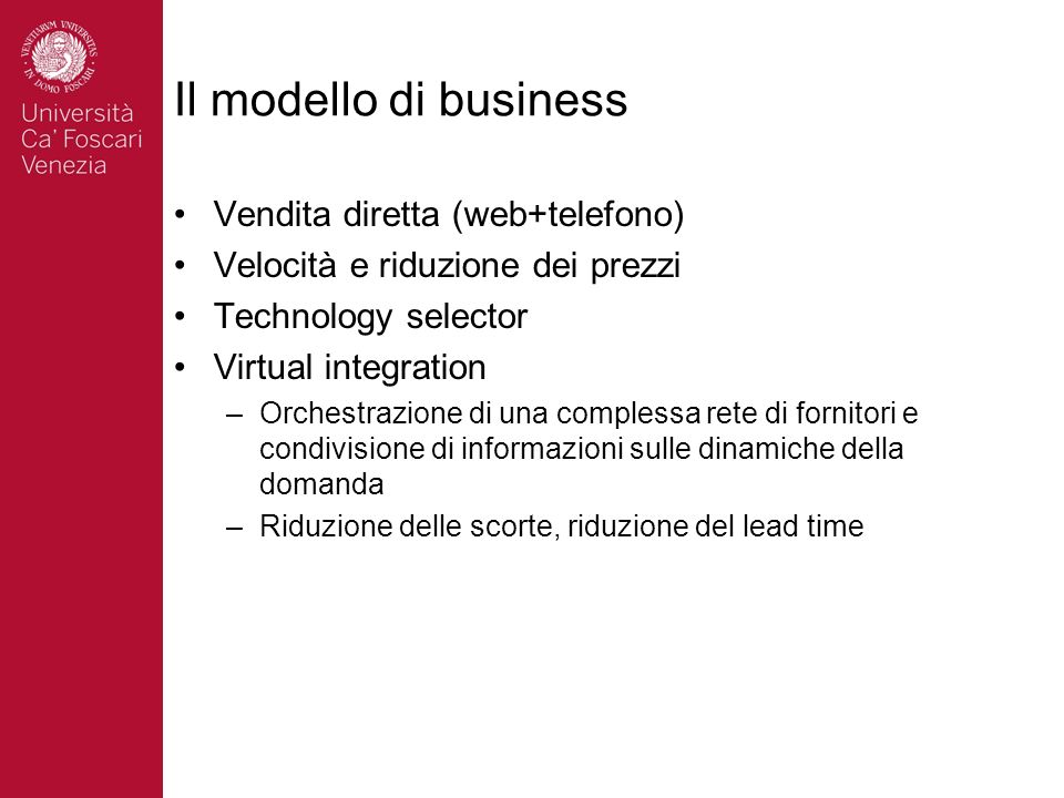 Il modello di business Vendita diretta (web+telefono)