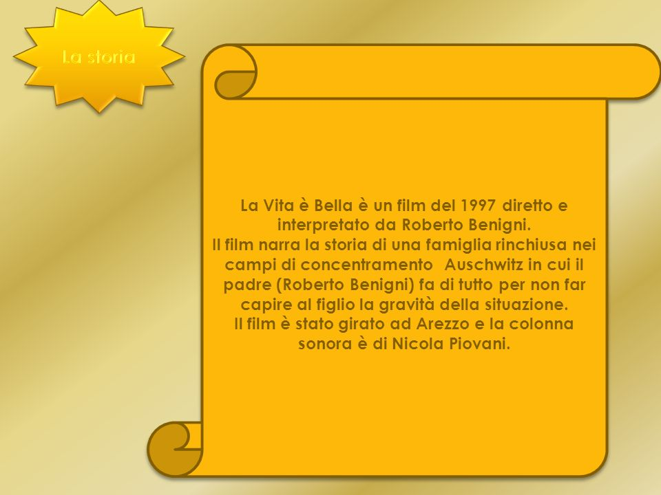 La storia La Vita è Bella è un film del 1997 diretto e interpretato da Roberto Benigni.