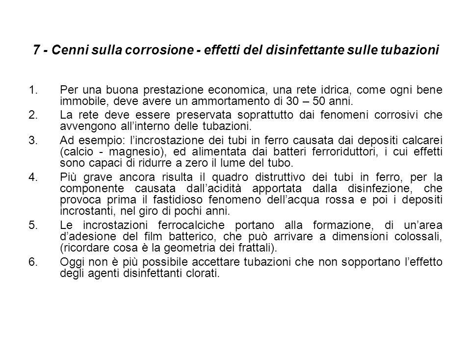 7 - Cenni sulla corrosione - effetti del disinfettante sulle tubazioni