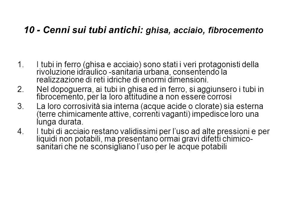 10 - Cenni sui tubi antichi: ghisa, acciaio, fibrocemento