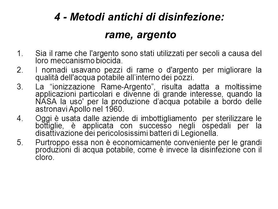 4 - Metodi antichi di disinfezione: rame, argento