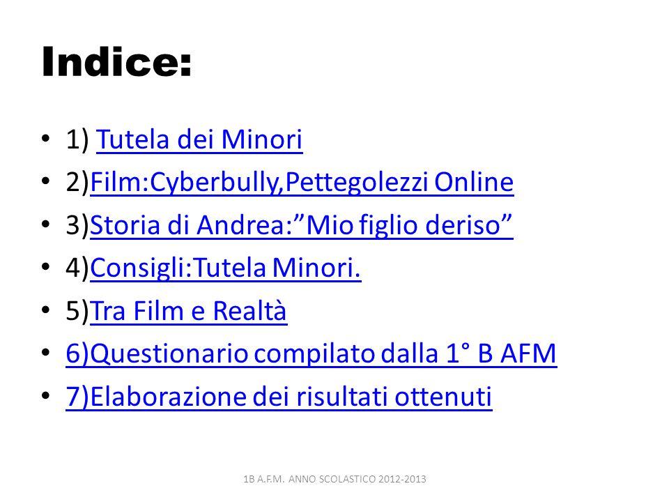 Indice: 1) Tutela dei Minori 2)Film:Cyberbully,Pettegolezzi Online