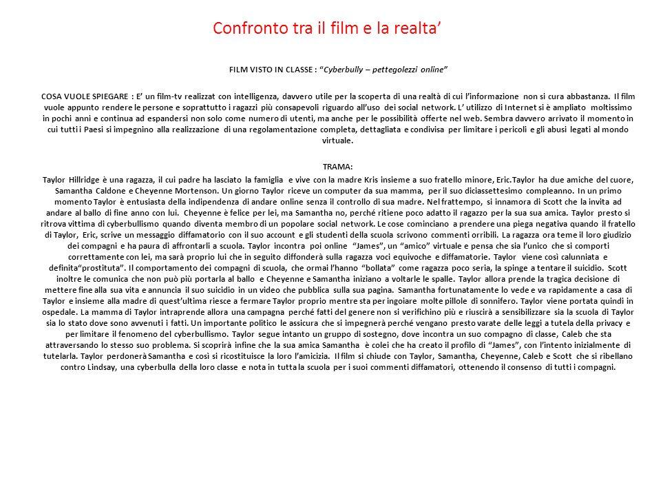 Confronto tra il film e la realta'