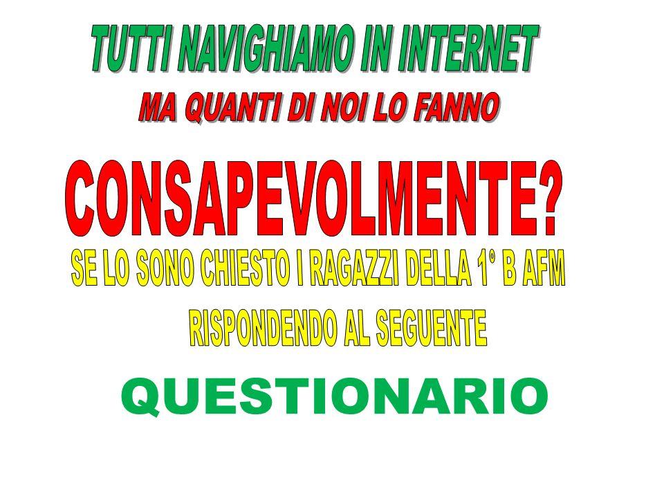 QUESTIONARIO TUTTI NAVIGHIAMO IN INTERNET MA QUANTI DI NOI LO FANNO