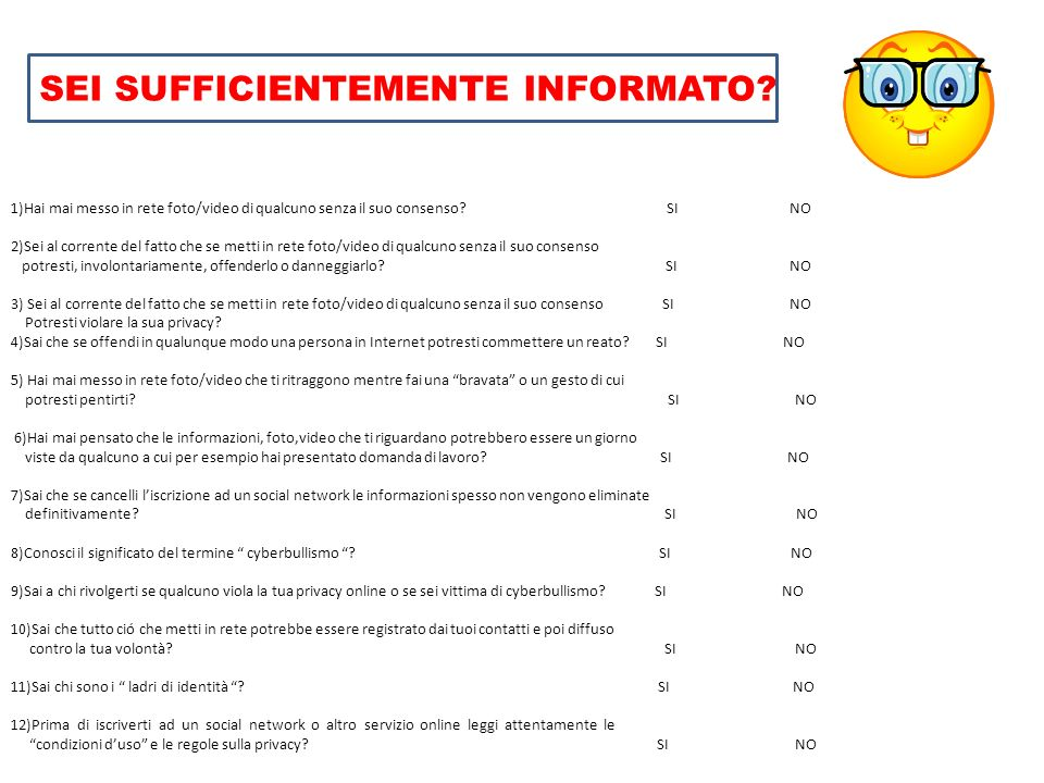 SEI SUFFICIENTEMENTE INFORMATO