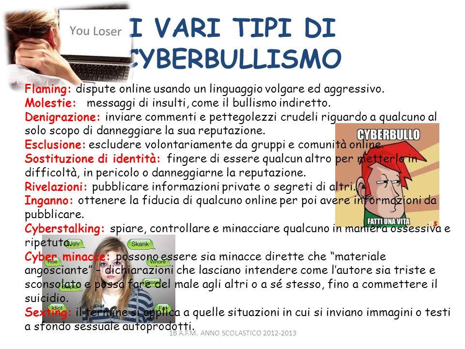 I VARI TIPI DI CYBERBULLISMO