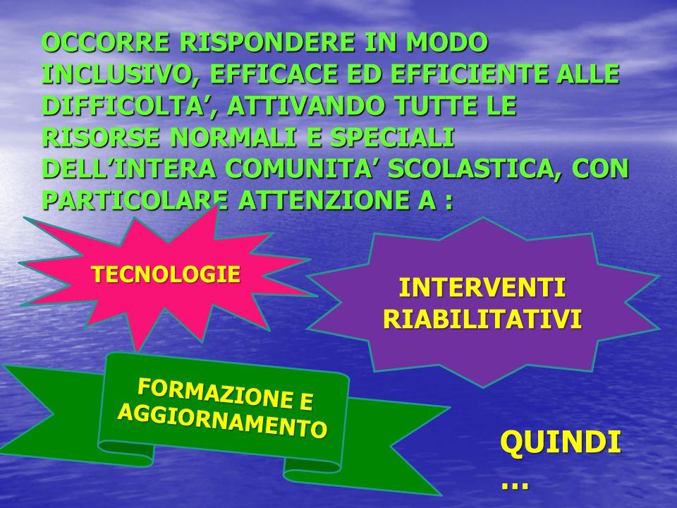 INTERVENTI RIABILITATIVI FORMAZIONE E AGGIORNAMENTO