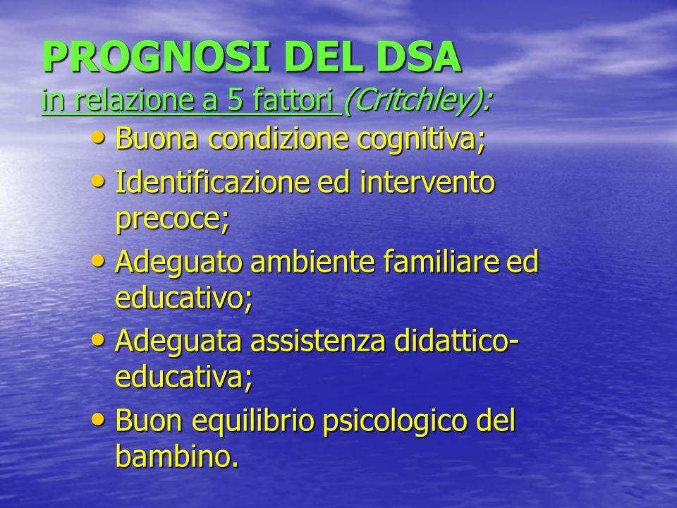 PROGNOSI DEL DSA in relazione a 5 fattori (Critchley):