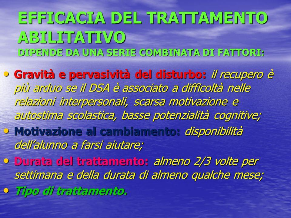 EFFICACIA DEL TRATTAMENTO ABILITATIVO DIPENDE DA UNA SERIE COMBINATA DI FATTORI: