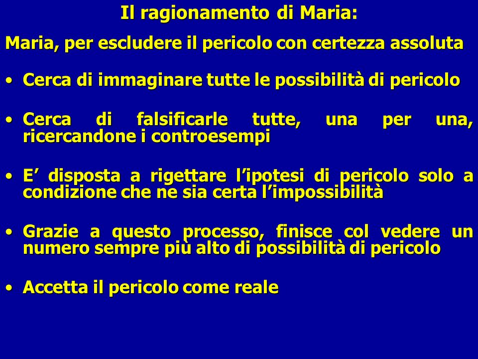 Il ragionamento di Maria: