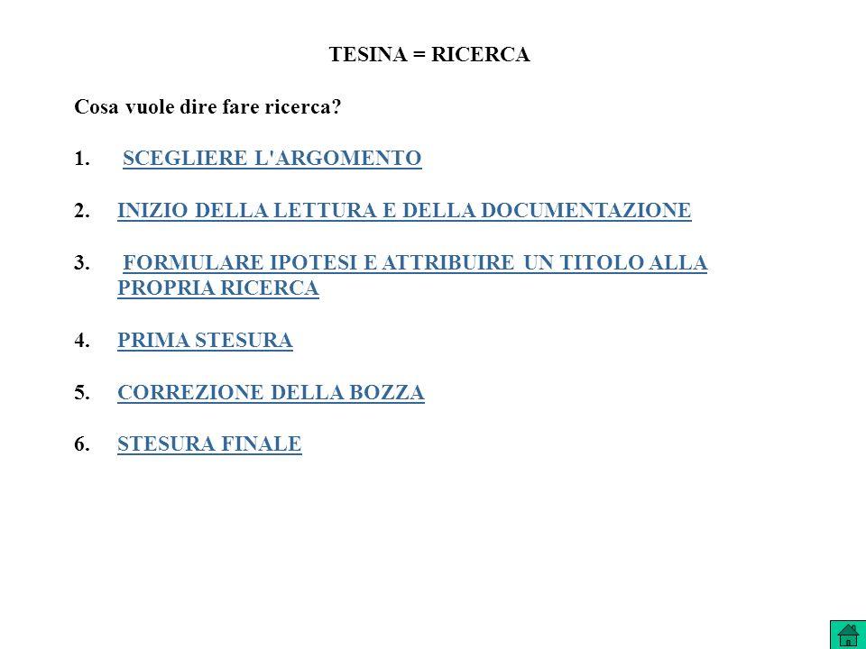 TESINA = RICERCA Cosa vuole dire fare ricerca SCEGLIERE L ARGOMENTO. INIZIO DELLA LETTURA E DELLA DOCUMENTAZIONE.